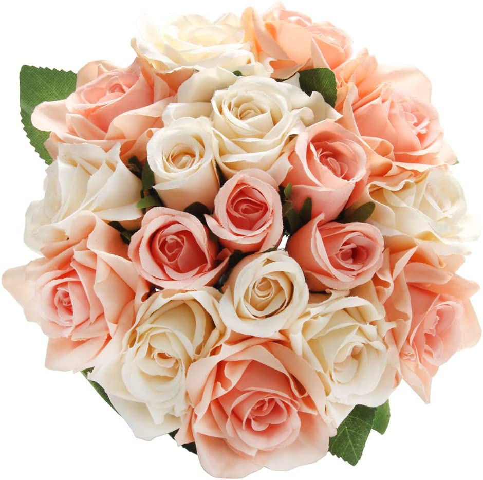CQURE Artificial Flowers, Fake Flowers Silk Artificial Roses 18 Heads Bridal Wedding Bouquet for Home Garden Party Wedding Decoration (Coral×2)
