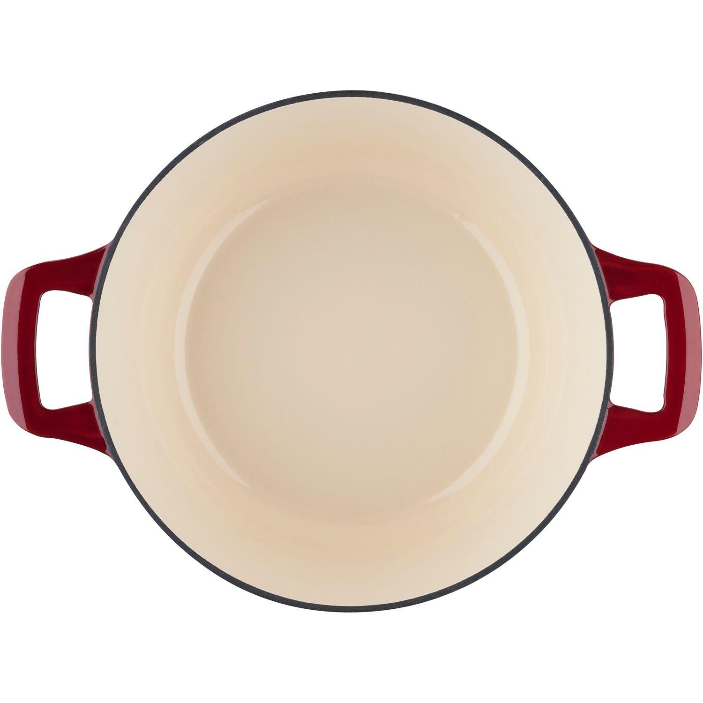 , Oval Casserole//Trivet La Cuisine LC 2905 6-Piece Enameled Cast Iron Cookware Set in Ruby
