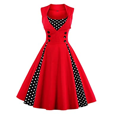 LANMWORN Women s Sleeveless Polka Dot Retro Cocktail Party Swing Dress  Elegant 50s Style Pinup Rockabilly Evening 390445376575