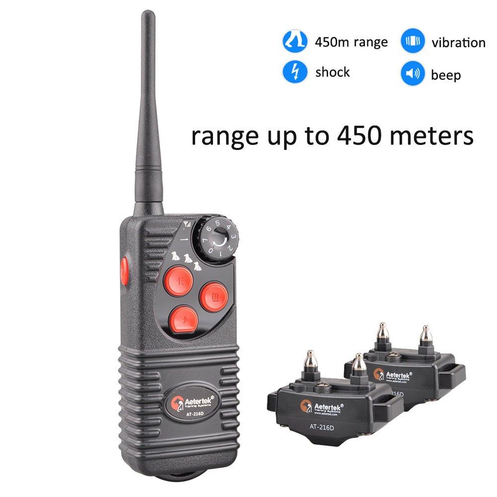 Aetertek AT-216D Waterproof 450m Remote Control 2 Dog Training Anti Bark Shock Collar by Aetertek