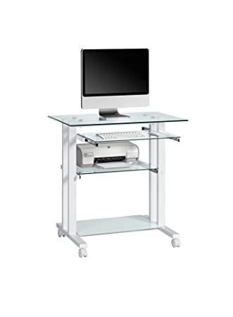 Computertisch glas schwarz  Maja 16509799 Computertisch, 800 x 837 x 510 mm, Metall weiß ...