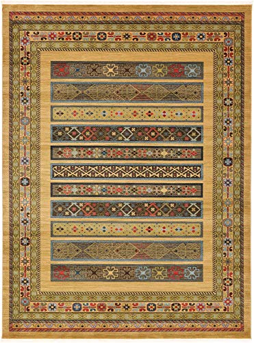 Unique Loom Fars Collection Tribal Modern Casual Tan Area Rug (9' 0 x 12' 0)