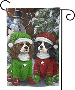 Only Pineapple Cavalier King Charles Spaniel CKCS Dog Seasonal Family Welcome Double Sided Garden Flag Outdoor Funny Decorative Flags for Garden Yard Lawn Decor Party Gift Many Sizes