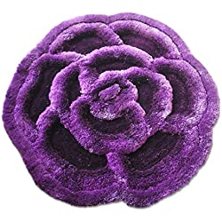 Luxury Linen Collection Flower Shape Shaggy Bedroom Area Rugs Modern Living Room Carpet 3D Floral Rug Soft Shaggy Area Rugs/Carpet 100 cm X100 cm # 704 (Purple)