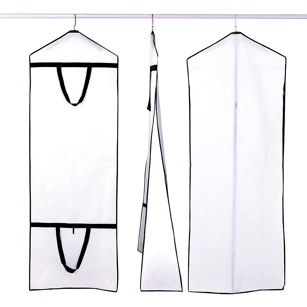 White Breathable Wedding Dress Garment Bag Dust Cover Storage Travel Bag Foldable Protective Cover for Wedding Gowns Bridal Gown Evening Gown Shsyue