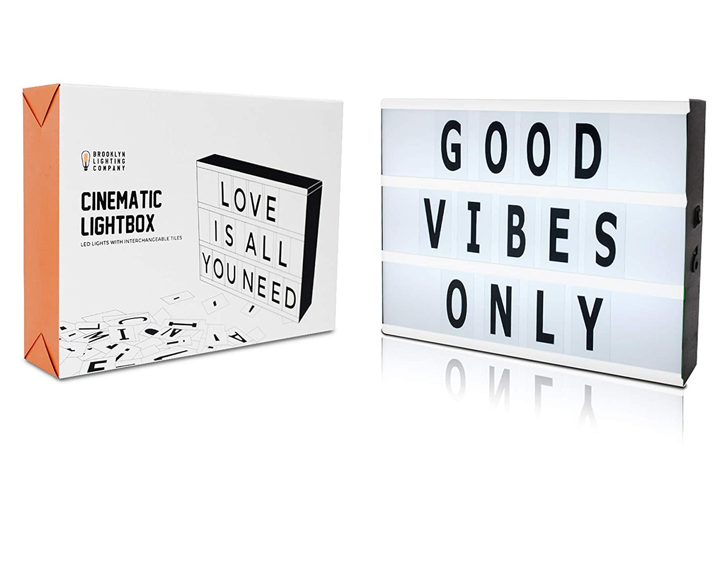Battery and USB Cable Powered Cinematic Light Box, LED Light Box, Cinema Light Box, Letter Light Box with 100 Letters, LED Light and USB Cable, (5.9
