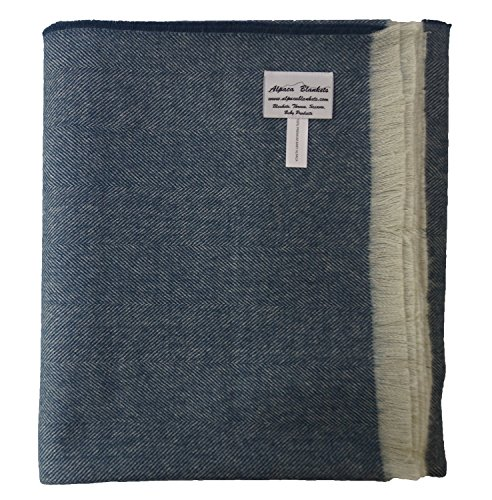 (100% Premium Baby Alpaca Throw Blanket, Our Paris Herringbone Throw/Afghan is More Durable than Cashmere (Blue))
