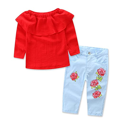 3f472ea79 Amazon.com  Baby Girls Kids Clothes Set Red Long Sleeve Blouse Top ...