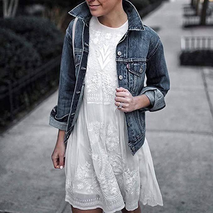 Linlink Mujeres Chaqueta de Mezclilla Corto Abrigos Casuales Outwear Jeans: Amazon.es: Ropa y accesorios