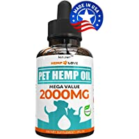 Natural Hemp Oil for Dogs & Cats - 2000mg - Premium Hemp Extract - Anxiety Relief for Dogs - Grown & Made in USA - Omega 3, 6 & 9 - Supports Hip & Joint Health - Natural Relief for Pain