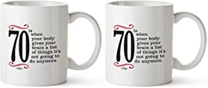 2-Pack Bundle | 1950 70th Birthday Gifts Men Women | Birthday Gift for Man Woman turning 70 | Funny 70 th Party Supplies Decorations Ideas | Seventy Year Old Bday Coffee Mug | 70 Years Gag Office Cup