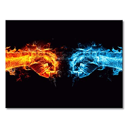 Modern Canvas Print Art Ice And Fire Wall Painting Framed Blue And Red Fist Decor Giclee Artwork Abstract Black Background Contemporary Picture