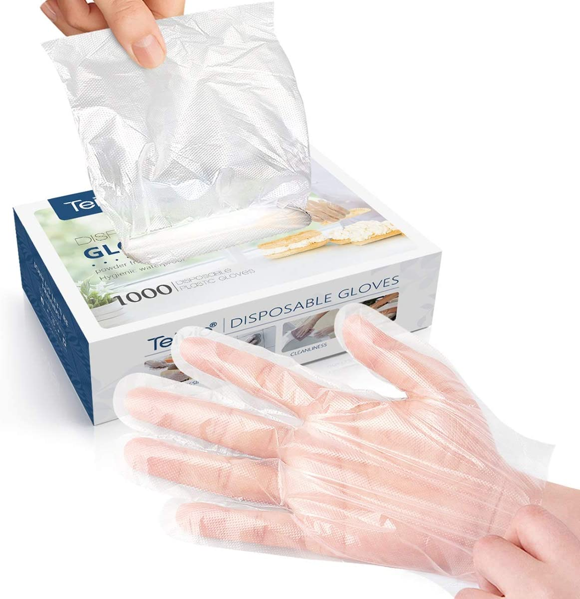Disposable Gloves 1000 Pcs Plastic Gloves For Kitchen Cooking Cleaning Safety Food Handling Powder And Latex Free By Teivio