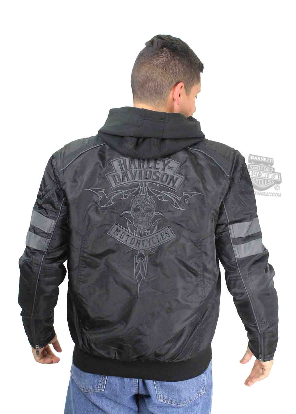 Barnett Harley-Davidson Harley-Davidson Mens Bomber Tribal Skull With 3M Thinsulate Insulation Black Casual Jacket (X-Large)
