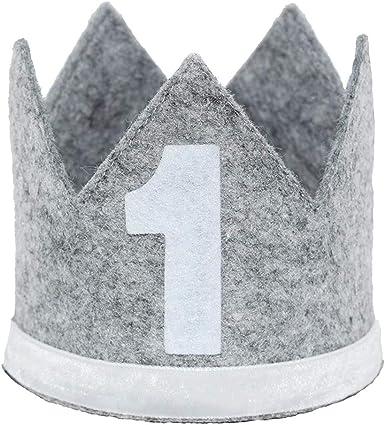 Maticr Classic Felt 1st Birthday Crown Hat Baby Boy Number 1 Headbands Prince Princess Cake Smash Photo Prop