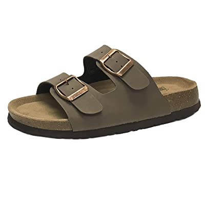 Women's Double Strap Thong Genuine Leather Footbed Insole Flat Sandal | Slides
