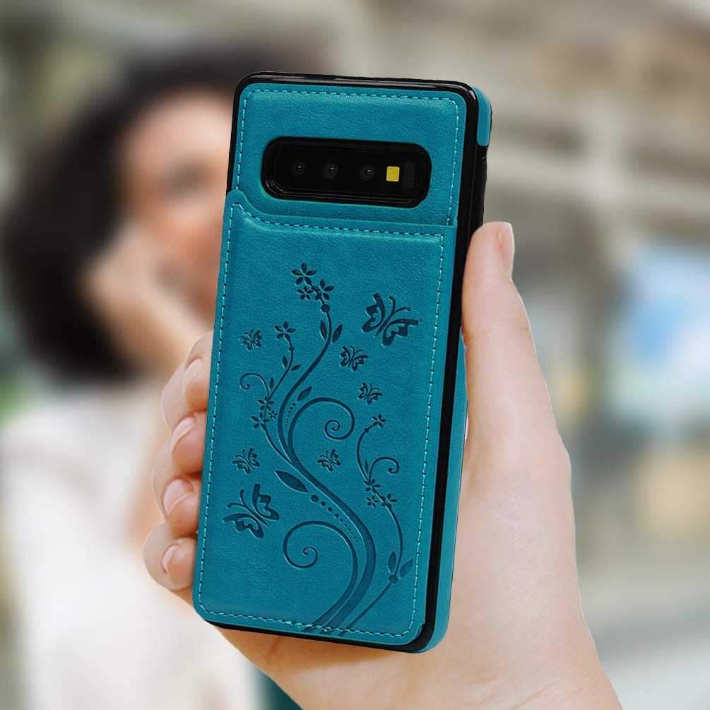 Case with Card Holder Embossed Butterfly Slim Folio Leather Cover Shockproof Kickstand with Credit Card Slot Protective Skin for Galaxy S10 SUPWALL Galaxy S10 Case Wallet Blue