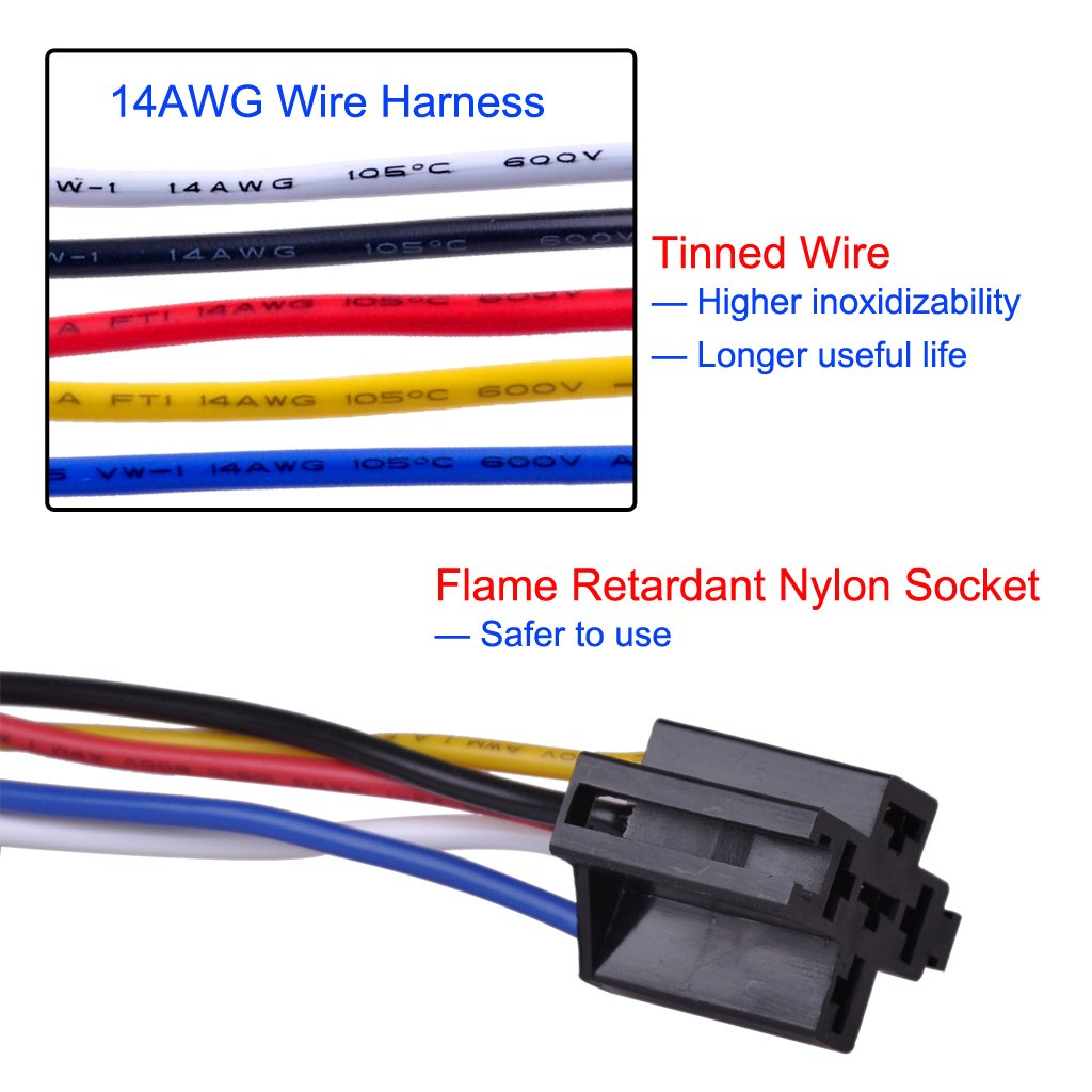 Ulincos Auto Relay U1914 With 14awg Wire Harness 12v Dc Wiring Design Jobs In Usa 30 40a Spdt 5 Pin Pack Of 2 Automotive