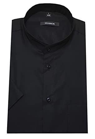HUBER Stehkragen Hemd schwarz Kurzarm HU-0126 Regular Fit  Amazon.de   Bekleidung 01e277ba6a