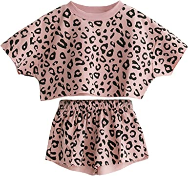 Fashion Warm Hoodie Leopard Print Baby Girls Lovely Tops T-shirt Pants Outfits