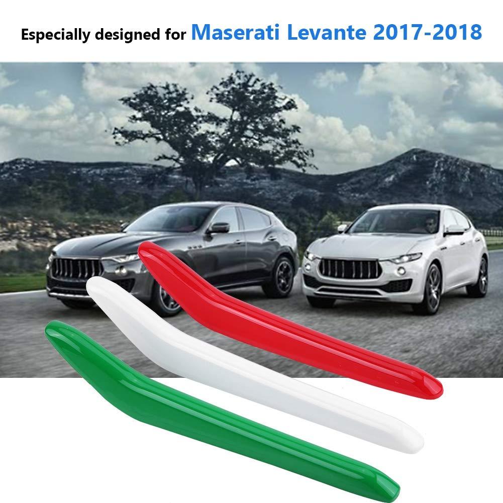 Car Glossy Front Grill Parrilla Decoraci/ón Tiras Cubierta para Maserati Levante 2017-2018 KIMISS 3 UNIDS ABS Parrilla Delantera Decoraci/ón Tiras de Ajuste