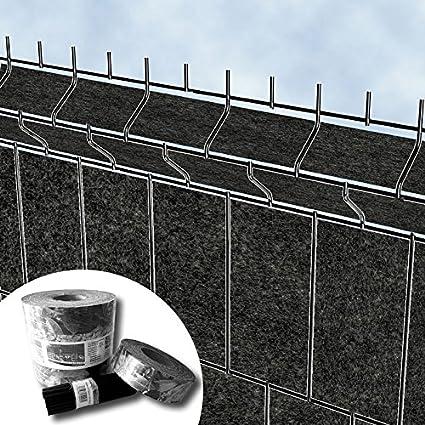 Uni Design Vlies Sichtschutzstreifen Rolle für Doppelstab Matten Zaun PVC frei