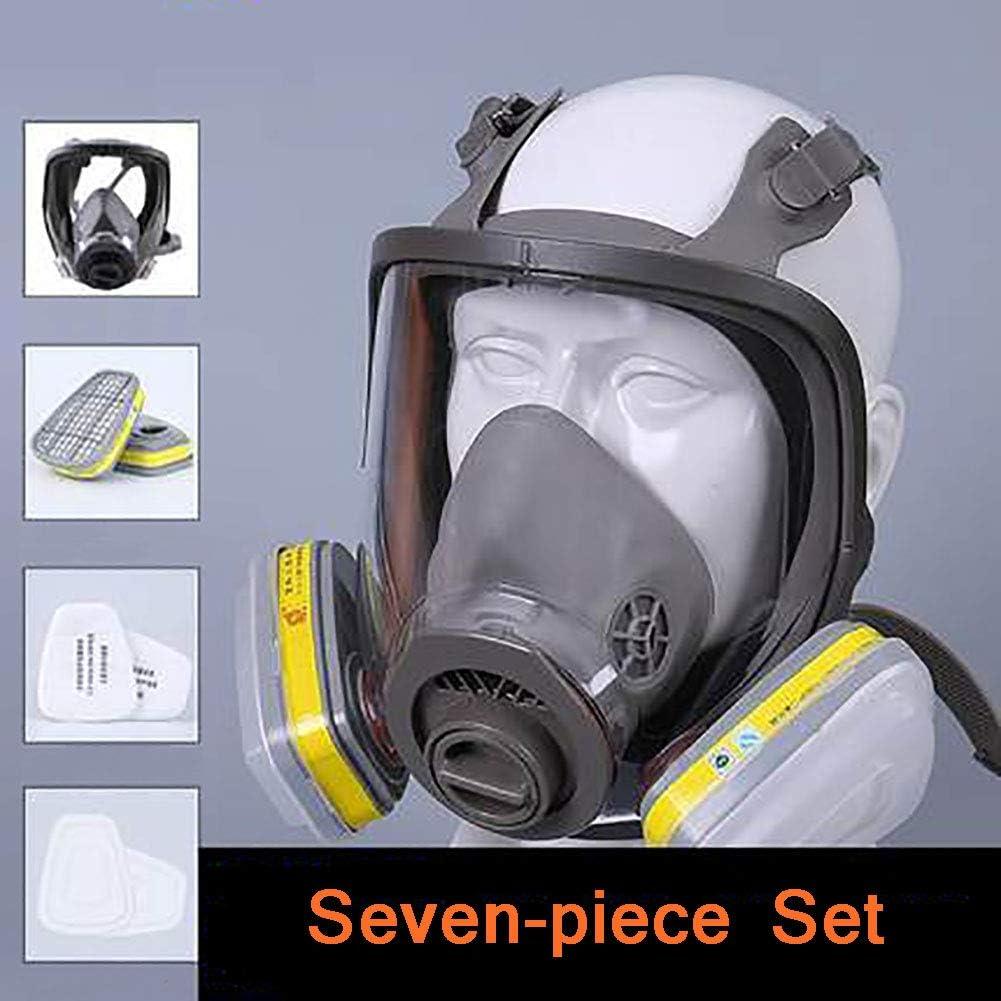 Juego Mascarilla Máscara Respiratoria, Máscara De Gas Anti-Fog Paintbal De Equipo De Protección, Para Especial Aerosol Pesticida Químico Decoración Pintura,A