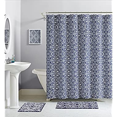 Luxury Home Essex Cotton Shower Curtain, Navy