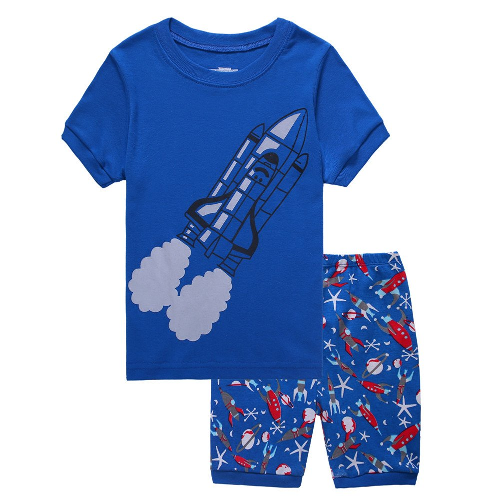 Boys Pajamas Tee and Shorts Cotton Sleepwear Clothes Set Long Sleeve Pjs