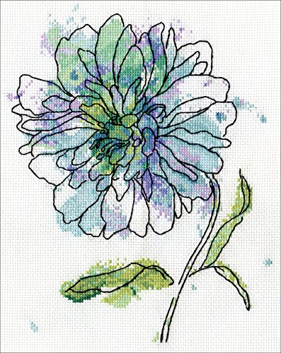 Floral Needlework Kit - Blue Floral Counted Cross Stitch Kit-8