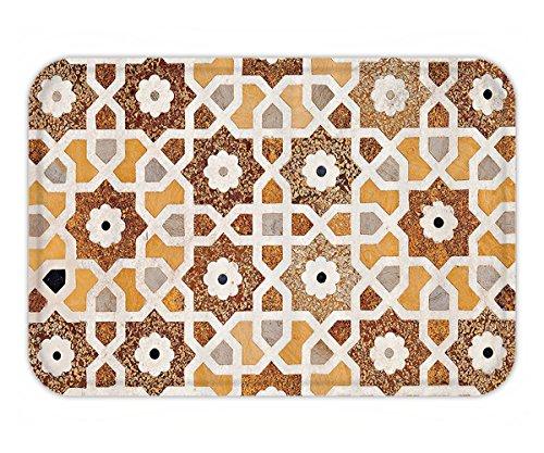 Beshowere Doormat Antique Decor Set Detail of Inlay and Geometric CarvingIndian Taj Mahal Tomb Architecture Design Bathroom Accessorie Long Cream Orange - Inlay Southwestern