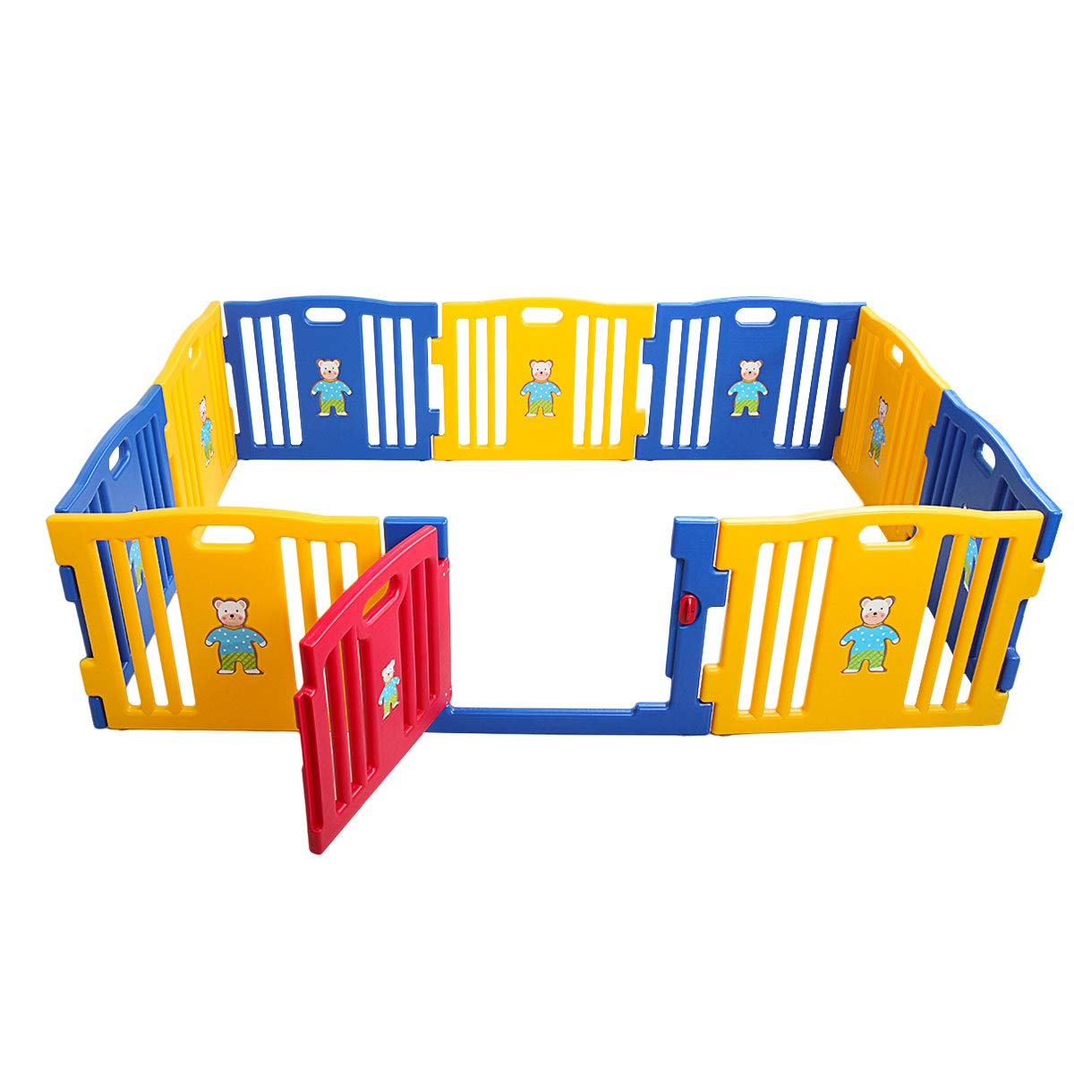 Sandinrayli Baby Playpen 10 Panel Foldable Kids Safety Play Center Fence Indoor Outdoor