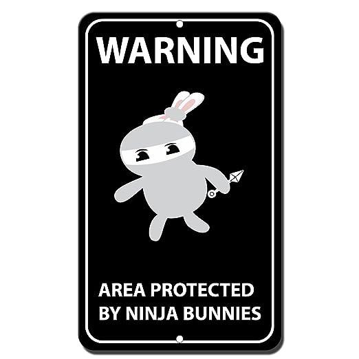 Advertencia zona protegida por Ninja Conejo Novelty Funny ...