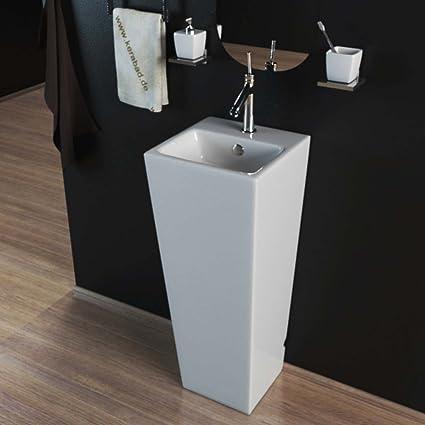 Fine Decor Pedestal Basin Wash Basin Pillar Rectangular Washbasin Guest Bathroom Sink Kbe503 Amazon De Kuche Haushalt