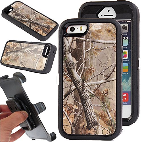 for iPhone 5/5s Case, Kecko Heavy Duty Shockproof Military Grade Scratch Resistant Hybrid Bumper Full Body Protective Case with Belt Clip Holster and Built-in Screen Protector (Tree Black)