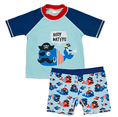 63ca766fe Baby Boys Two Pieces Swimsuit Set Kids Cartoon Animal Swimwear Rashguard Bathing  Suit UV Sun Protective