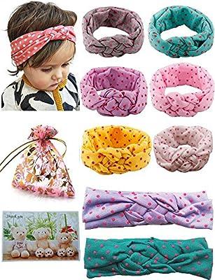 CBOO Baby Girls Soft Cotton Headbands Essentials for Newborn Girls Babies Children Hairband Turban Set Bow-knot Hair Band Accessories