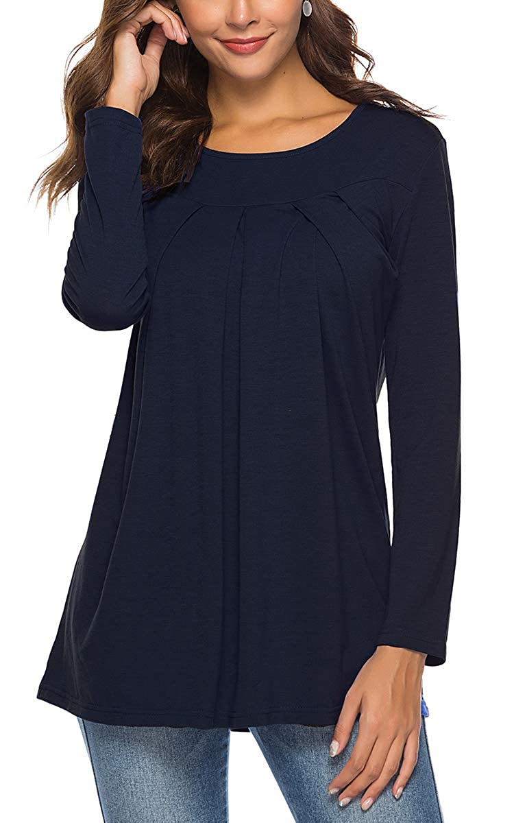 01navybluee SMALNNIE Women Pleated Front TShirt Long Sleeve Blouse Round Neck Casual Tops S2XL
