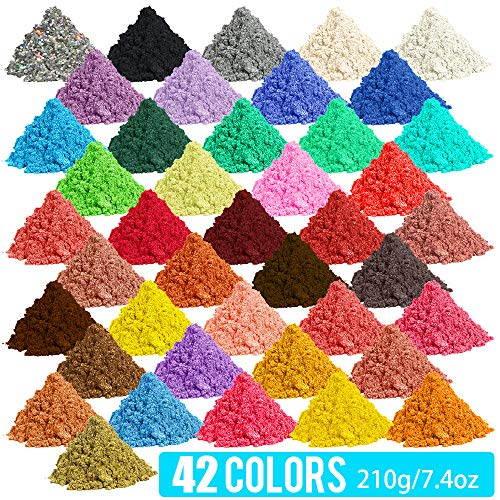 [210 Gram / 7.4 Ounce] Epoxy Resin Pigment, Cosmetic Grade Natural Mica Powder for Soap Making Dye Kit,Powdered Pigments Set,Bath Bomb Dye Colorant,Makeup Dye,Eye Shadow, Blush,Nail,Jewelry,Craft
