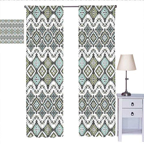 Ethnic Room Darkening Curtains for Bedroom Arabesque Geometric Pattern with Fractal Square Shapes Line Culture Artwork Short Curtain Sage Green Seafom W84 x L84