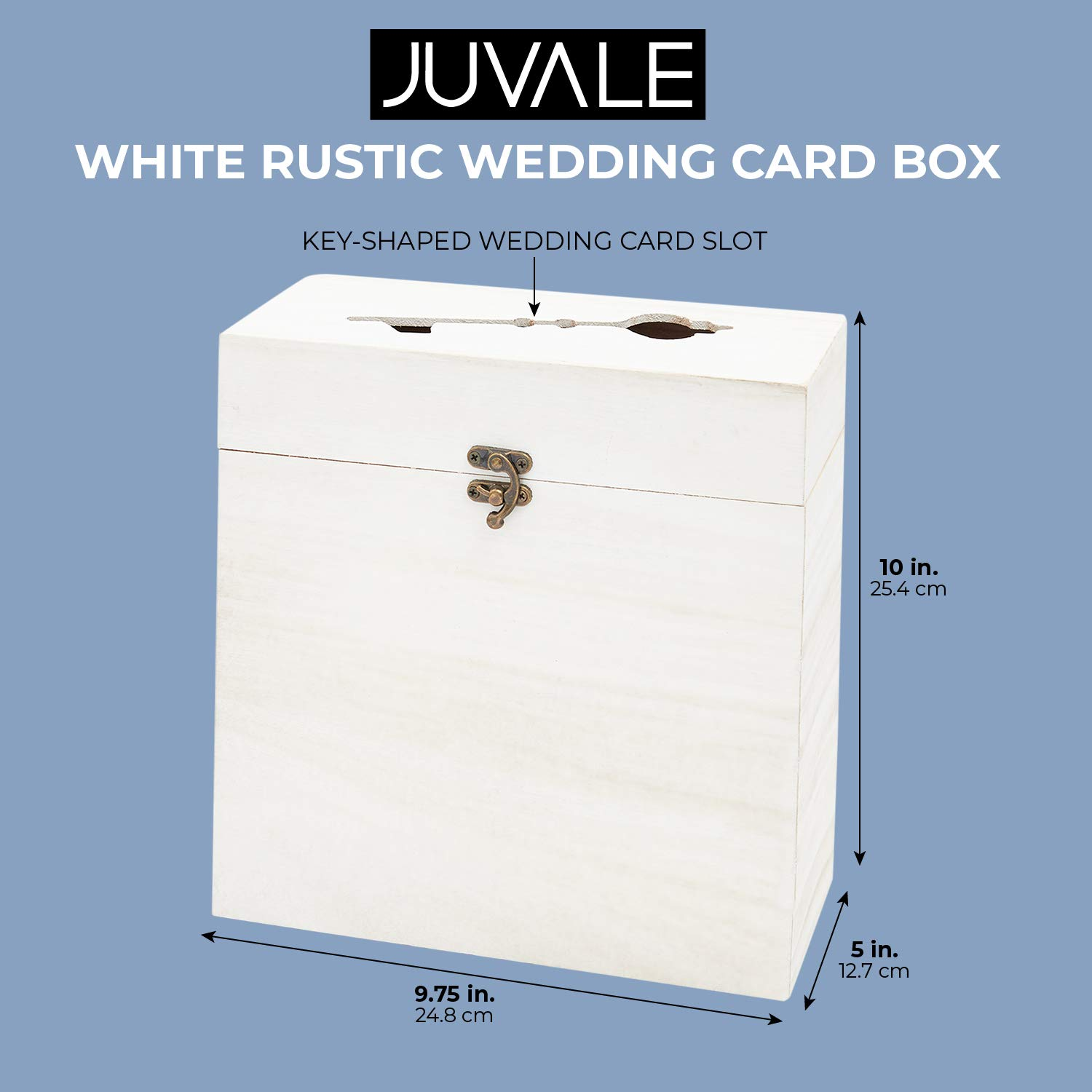 Juvale Rustic Card Box for Wedding White, Pack of 1