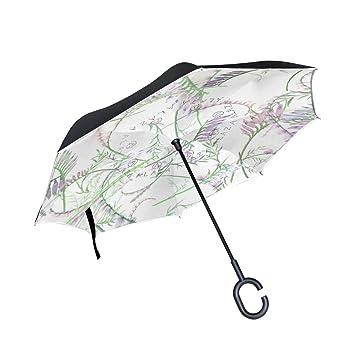 BENNIGIRY - Paraguas invertido de doble capa con forma de flor de hierba de BENNIGIRY con