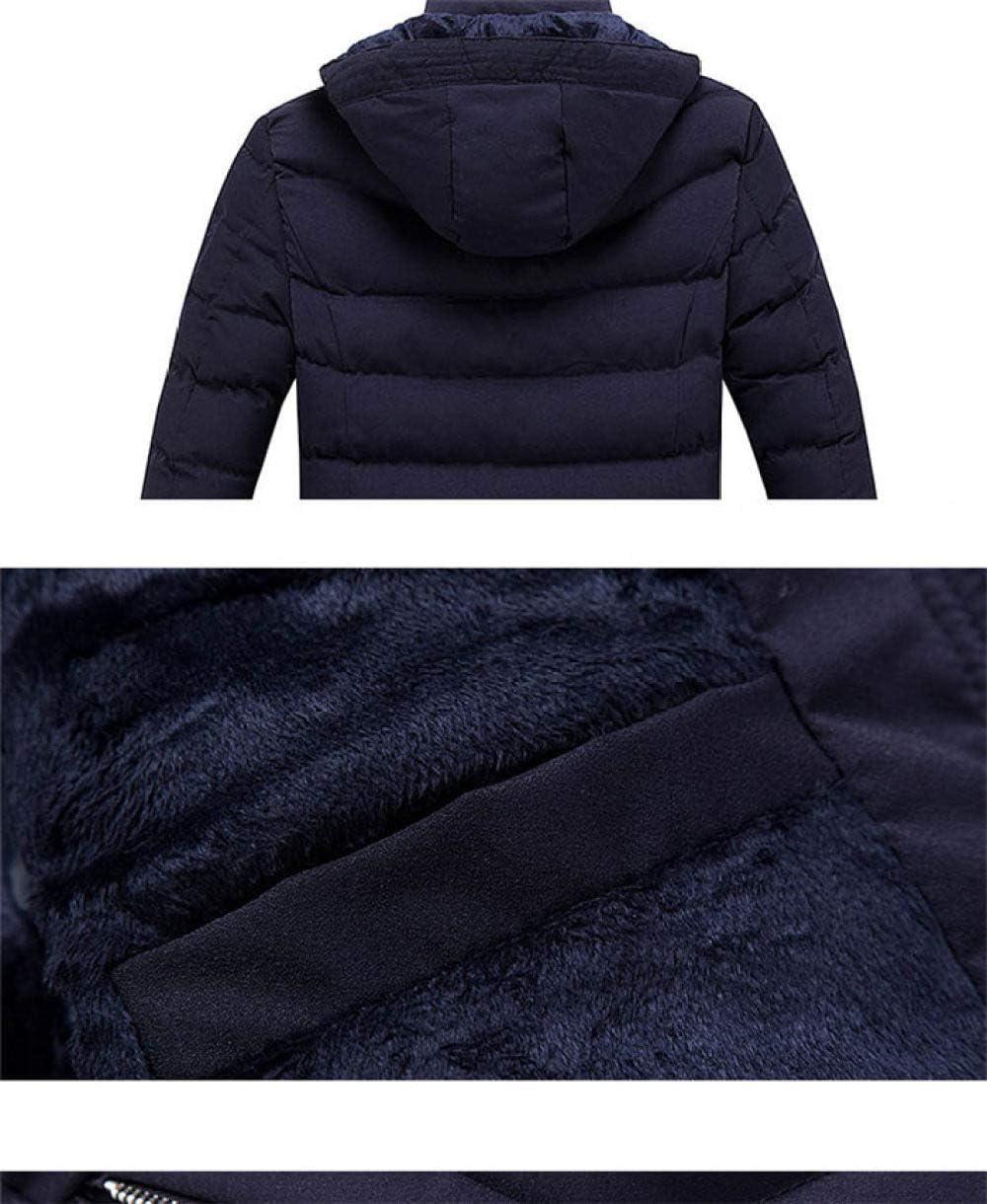ZYJANO Longue Doudoune,Mode Veste d'hiver Hommes Épais Chaud Manteau d'hiver Hommes Casual Capuche Col en Molleton Coupe-Vent Hommes Survêtement Grande Taille Bleu foncé