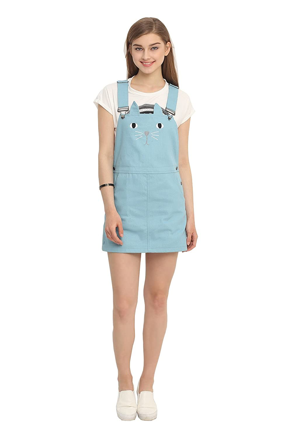 JollyChic Women's Cute Cate Embroidery Sweet Candy Color Denim Bib Overall