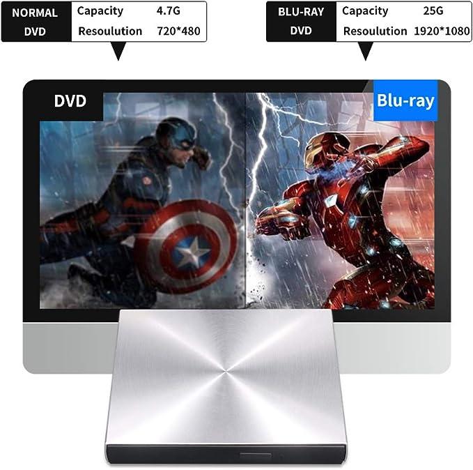 Blu Ray - Unidad externa, lectora/grabadora 3D, USB C y 3.0 ...