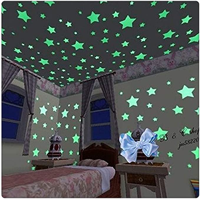 100Pcs Luminous Star Stickers Glow in Dark Toys PVC Kids Bedroom Wall Home Deco
