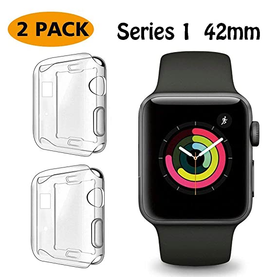 free shipping 5db52 b9091 FINENIC【2 Pack】 Compatible Apple Watch Series 1 42mm Screen Protector case  Cover, Soft TPU Screen Protector Case for iwatch Series 1 42mm (Color ...