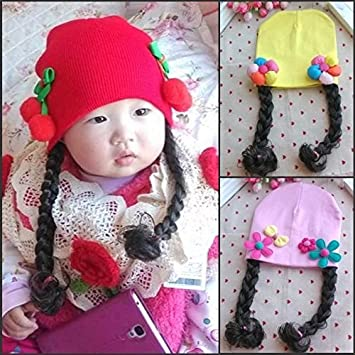 Amazon.com   Autumn and winter hat women girls female baby infant child  cotton knit cap long braided wig cap 3--6--12 Yue sets of headgear   Beauty cd81314ca