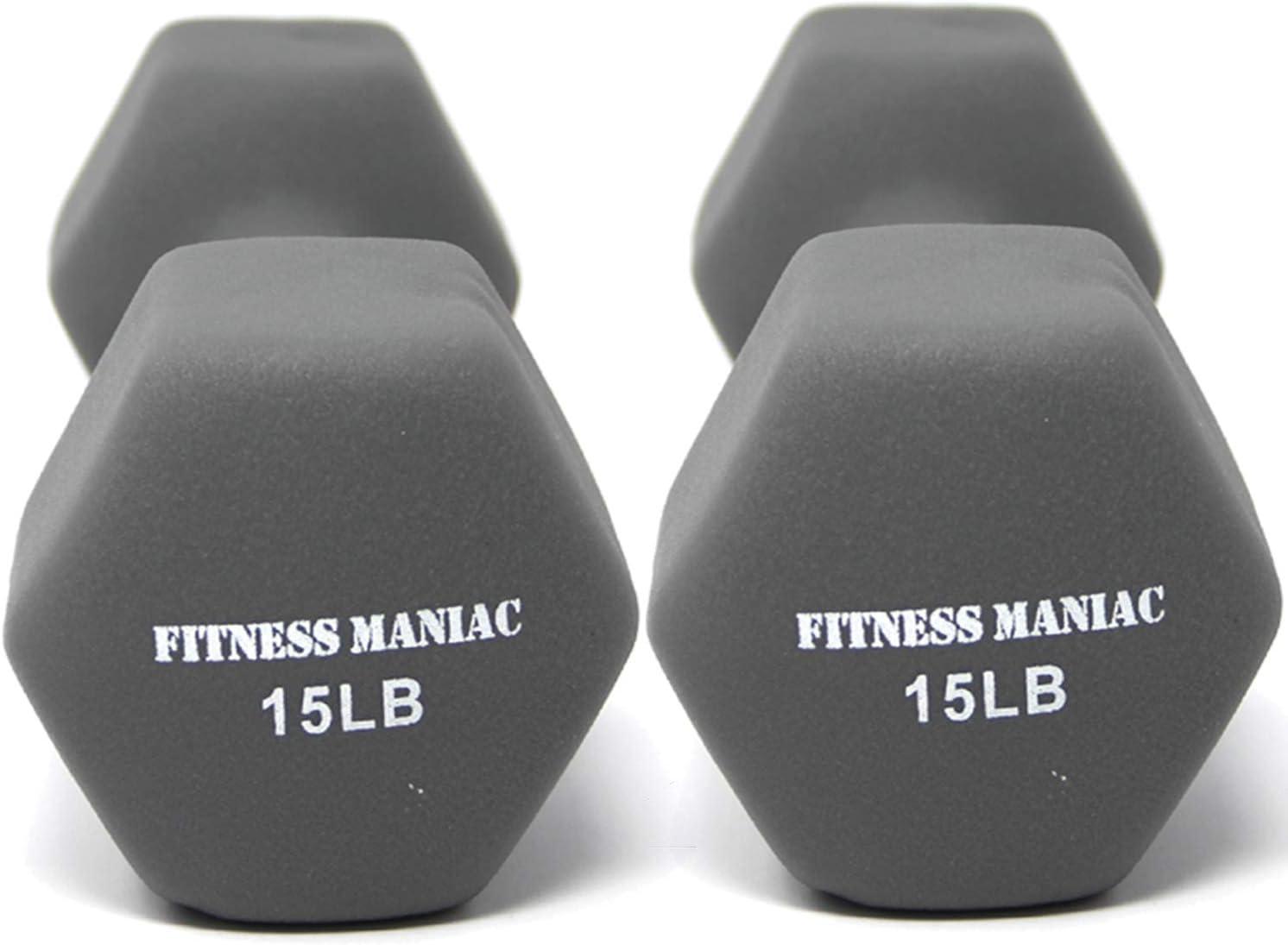 FITNESS Maniac - Juego de mancuernas de neopreno antideslizantes para levantamiento de pesas, peso pesado, 15 lb, par de mancuernas de entrenamiento para gimnasio en casa, fitness, entrenamiento de fuerza, musculación, hombro,