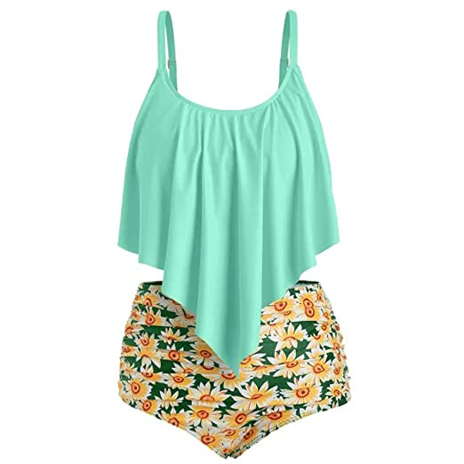 5673d795d1d Amazon.com: Swimsuits for Women Plus Size Two Pieces Top Sunflower Printed  Ruffled with High Waisted Bottom Bikini Set: Clothing